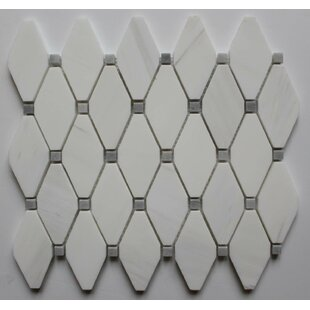 2 X Marble Mosaic Tile In Bianco Dolomite With Gray Dot