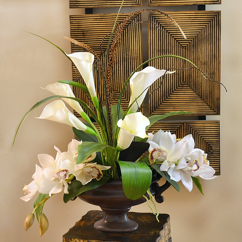 Floral Home Decor Calla Lily And Orchid Silk Flower Arrangement Reviews