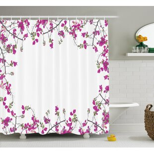 Jacobson Vintage Frame With Ivy Floral Design With Leaves Buds and Branches Print Single Shower Curtain