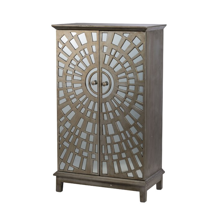 Bayviewpark Wood And Glass Front 2 Door Accent Cabinet