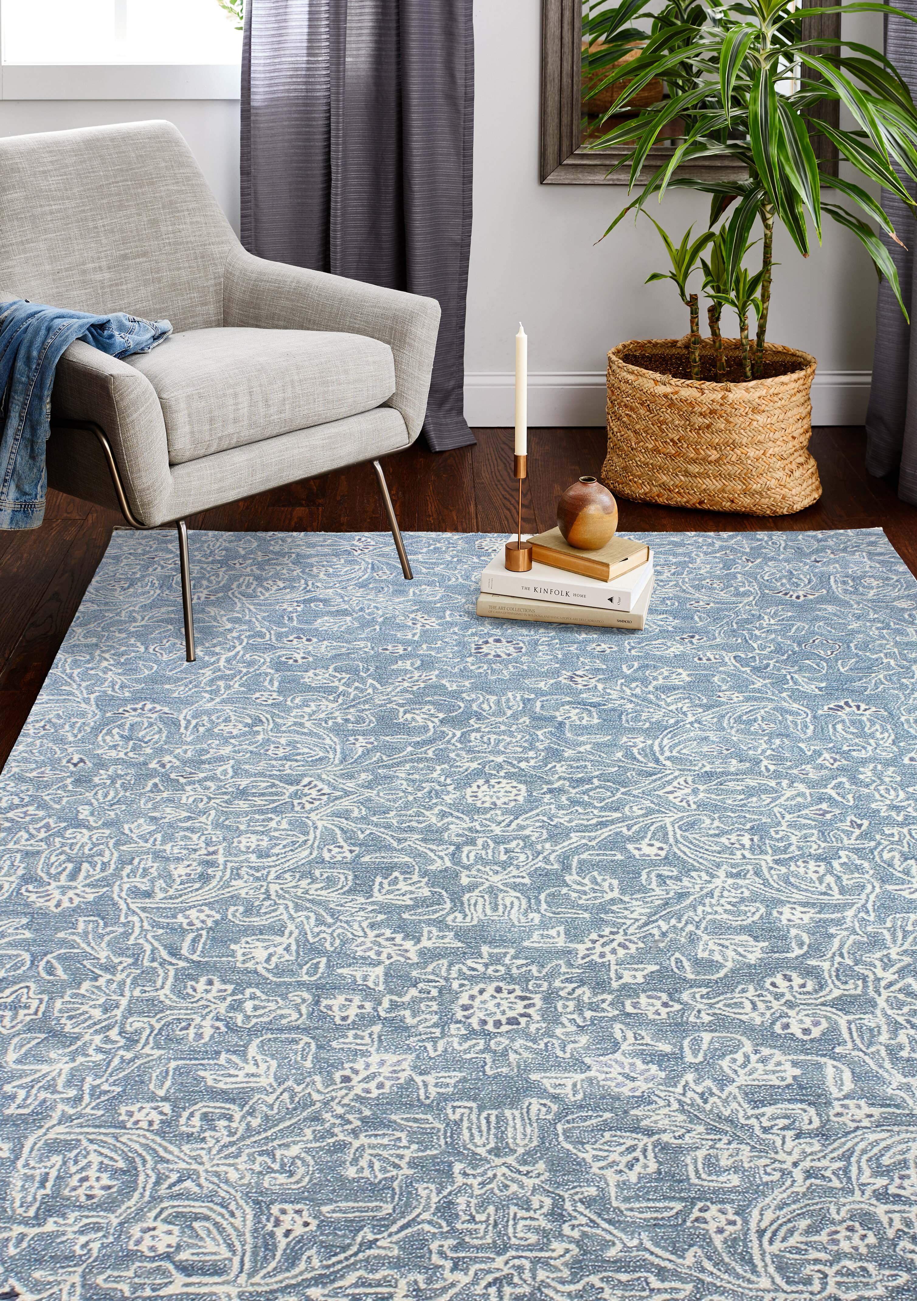 Dakota Fields Arthurs Floral Wool Blue Area Rug Reviews Wayfair