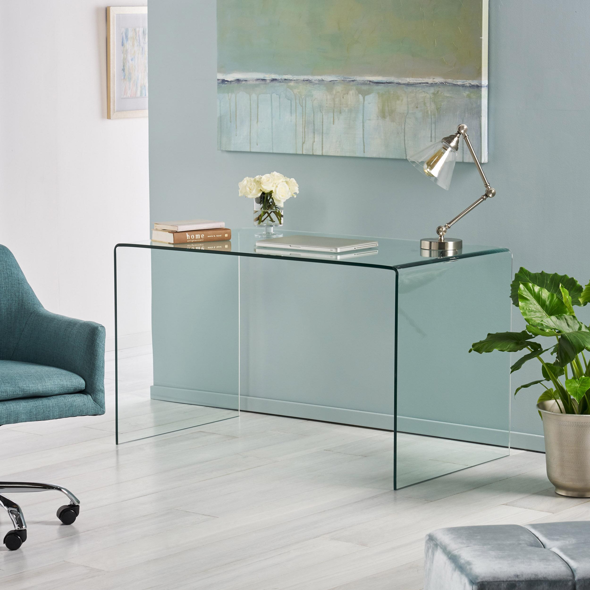 Bauer Glass Desk Reviews Allmodern