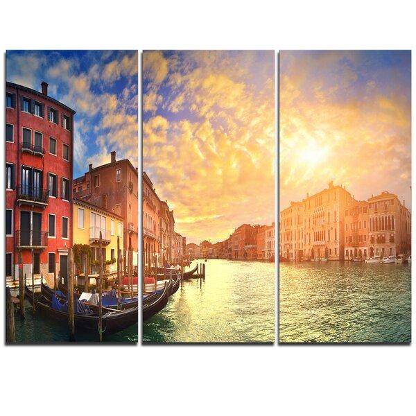 Designart Majestic Sunset Over Venice 3 Piece Graphic Art On Wrapped Canvas Set Wayfair