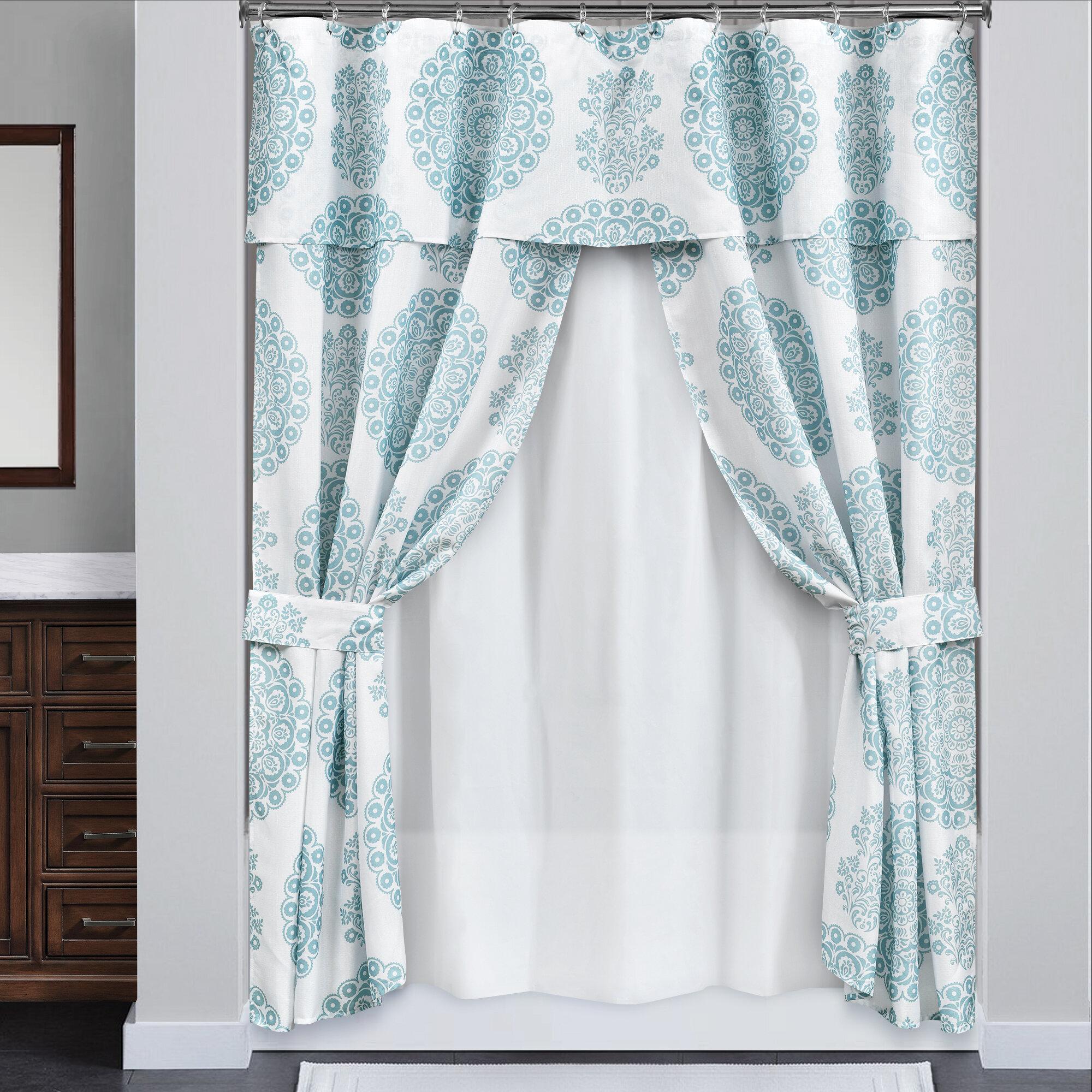 Fashion Shower Curtain Fabric Bathroom Decor Set with Hooks 4 Sizes