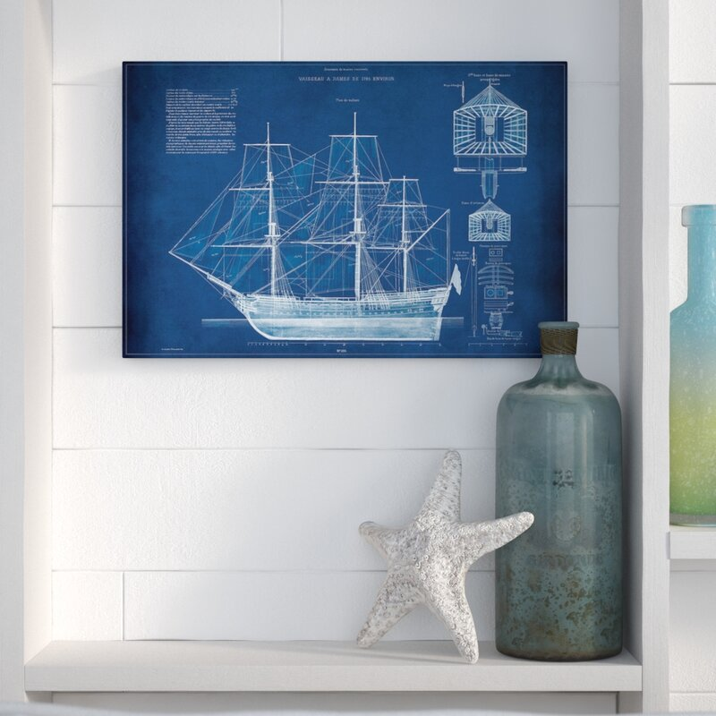 Beachcrest home antique ship blueprint iv graphic art print on antique ship blueprint iv graphic art print on wrapped canvas malvernweather Image collections
