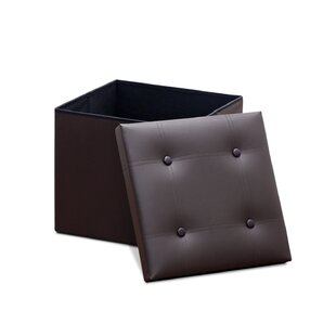 Modern Foldable Storage Leather/Faux Leather Cube (Set of 2) By Ebern Designs