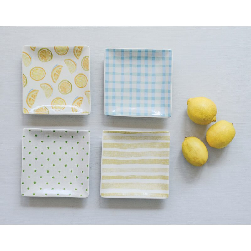 Avent Square Lemon and Patterned 4 Piece Bread and Butter Plate Set
