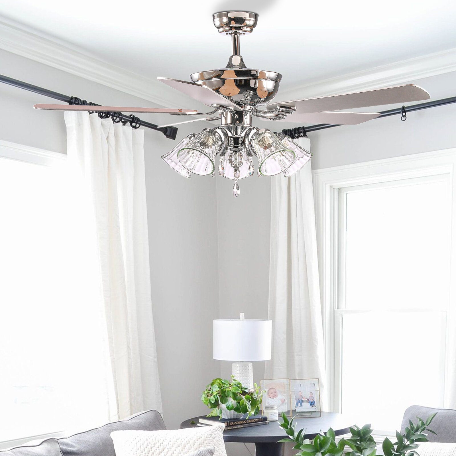 Rosdorf Park 52 Ann 5 Blade Chandelier Ceiling Fan With Remote Control And Light Kit Included Wayfair
