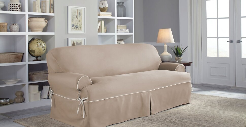 Solid-Colored Sofa Slipcovers - Shop Chair Covers And Sofa Covers - Slipcovers You'll Love Wayfair