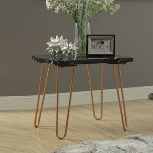 Comparison Joliet Black Marble Top End Table With Metal Hairpin Style Legs In Gold by Brayden Studio