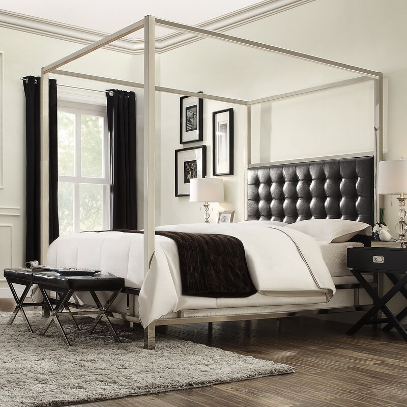 Canopybed jasper upholstered canopy bed & reviews | joss & main