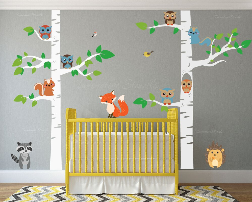 12 Piece Birch Tree Nursery Wall Decal Set Part 36