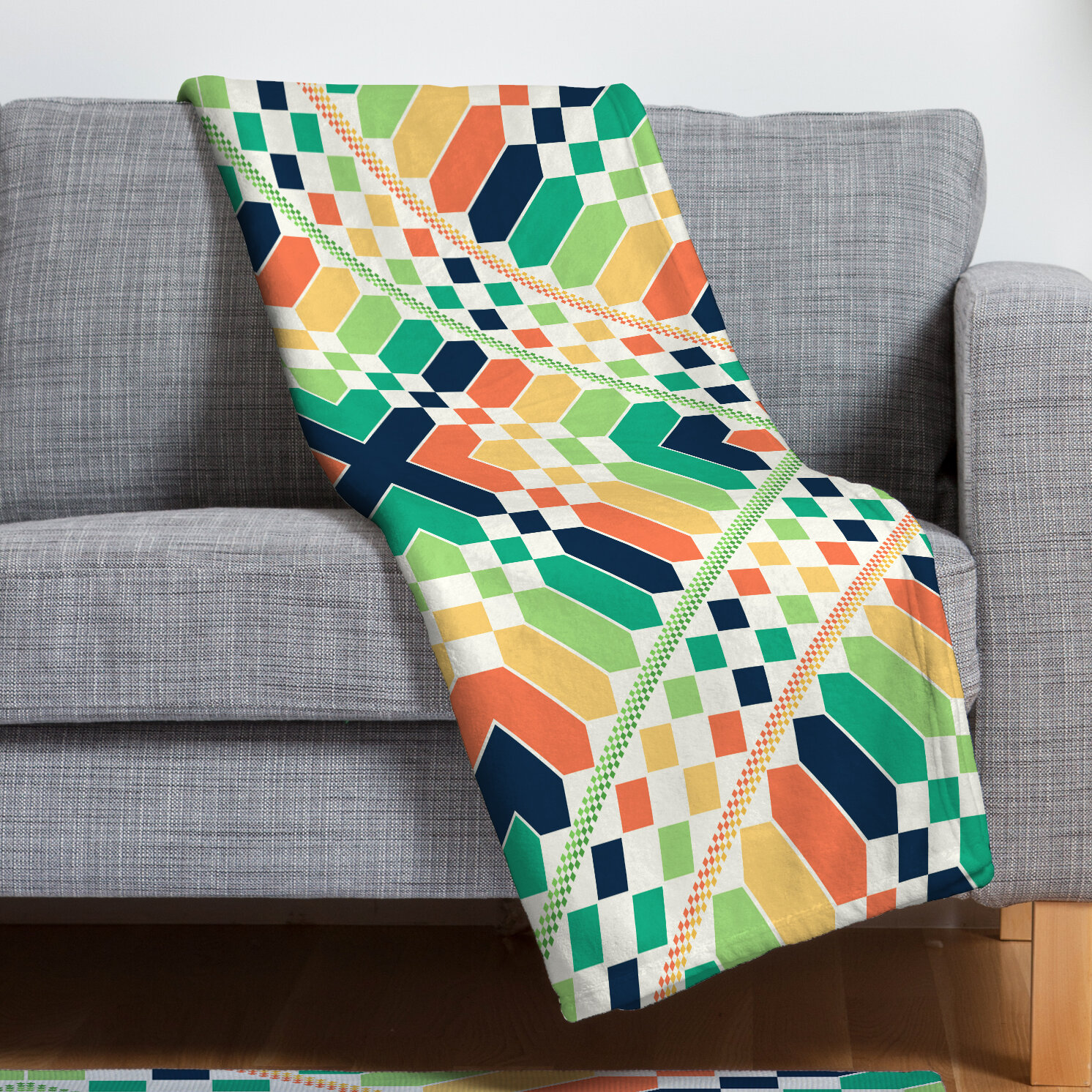 East Urban Home Retrographic Fleece Blanket  645dffa63