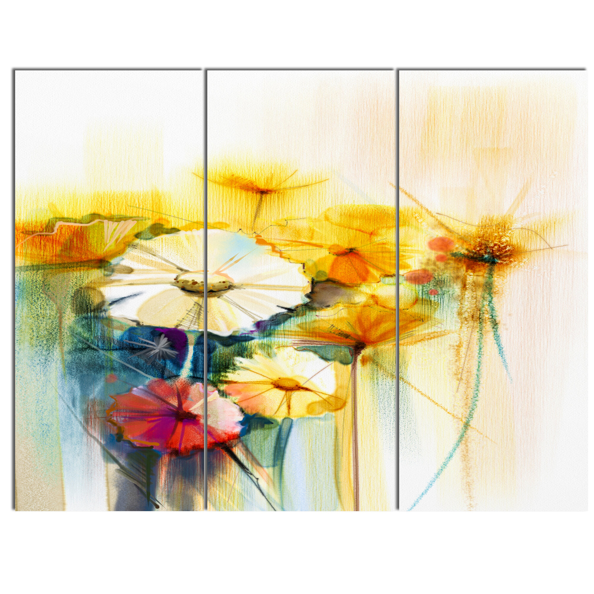 Designart Bunch Of White Yellow Flowers 3 Piece Painting Print On