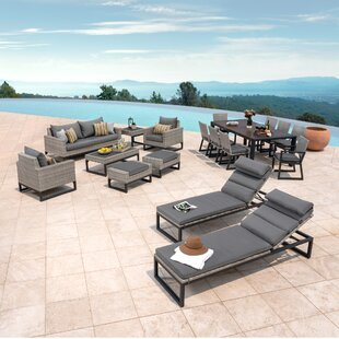 Gary 18 Piece Rattan Sunbrella Conversation Set with Cushions by Corrigan Studio