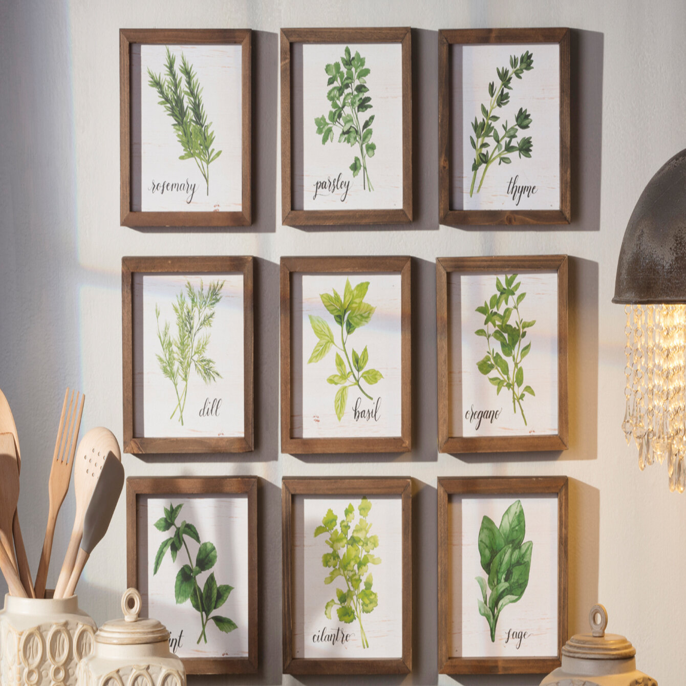 Set of Three Home D/écor Botanical Hand Drawn Flowers Black Stained Frame, 8x10