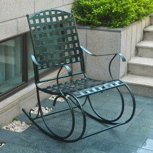 Schilling Nailhead Iron Patio Rocking Chair