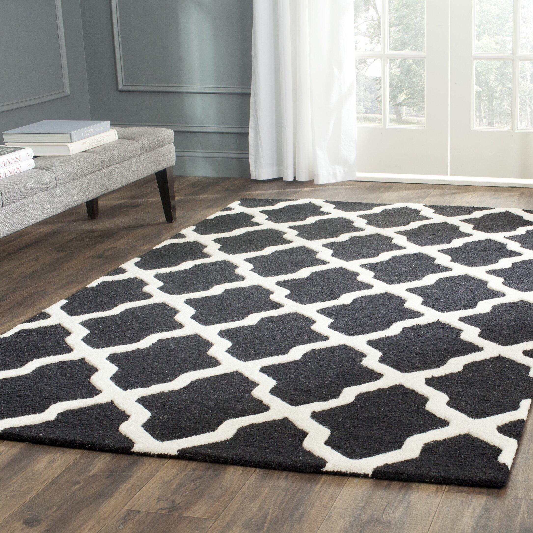 Winston Porter Ilion Geometric Handmade Tufted Wool Black Area Rug Reviews Wayfair