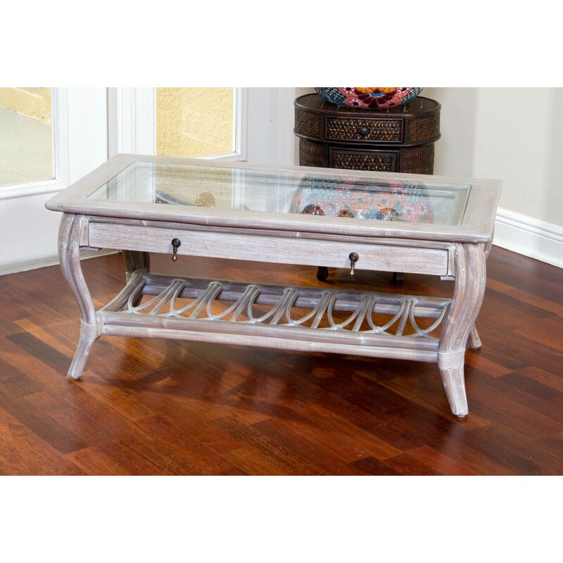 Bay Isle Home Presley Glass Top Coffee Table With Drawer Wayfair