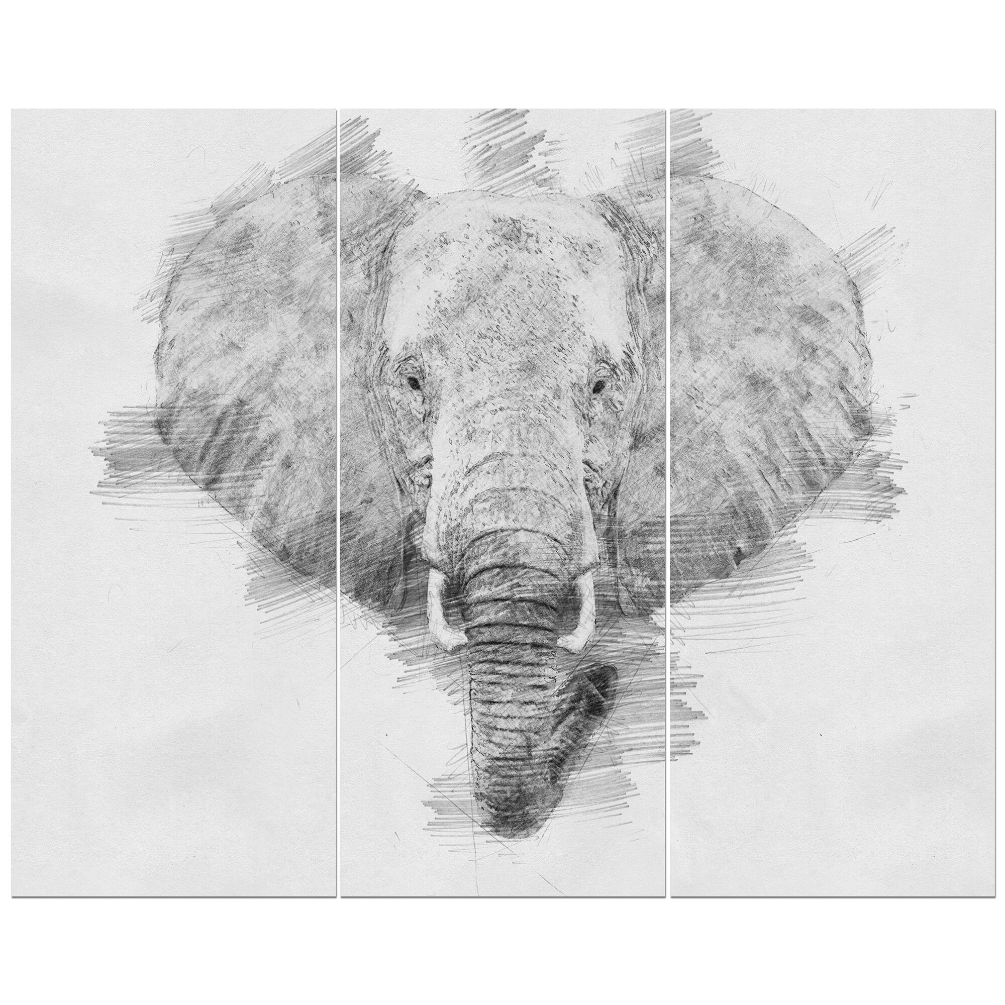 Elephant in pencil sketch drawing print multi piece image on wrapped canvas