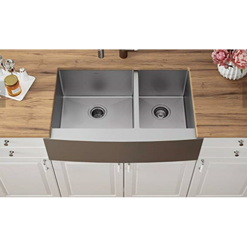 Topcraft Stainless Steel 30 L X 20 W Double Basin Farmhouse Kitchen Sink Wayfair