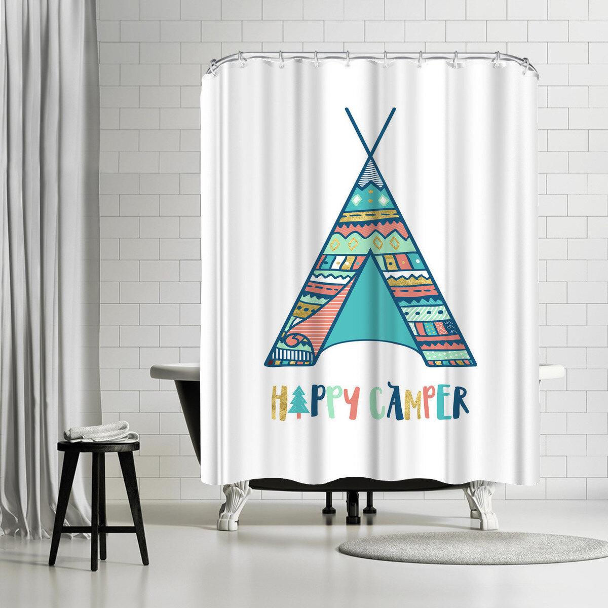 East Urban Home Elena David Happy Camper Single Shower Curtain Wayfair