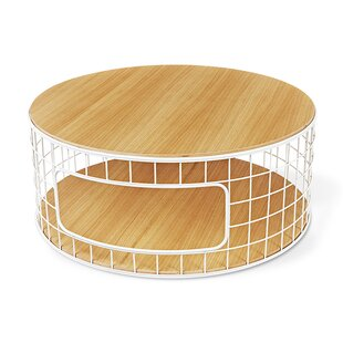 Wireframe Coffee Table White Powder Coat Oak Natural