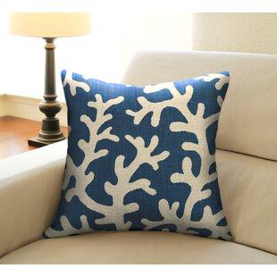 Coastal Coral Linen Throw Pillow