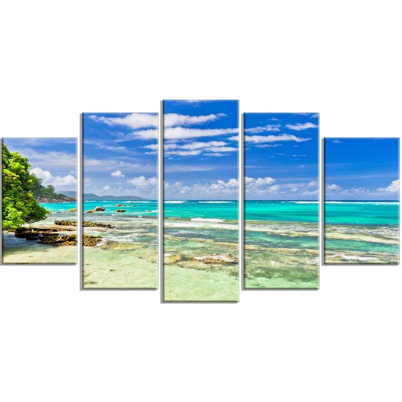 Designart Tranquil Seychelles Tropical Beach 5 Piece Wall Art On Wrapped Canvas Set Wayfair