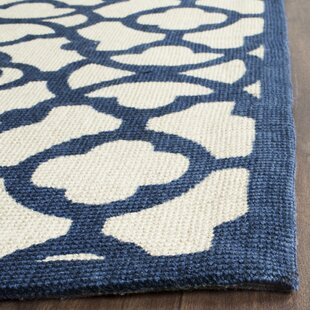Quentin Road Ivory & Navy Area Rug By Alcott Hill