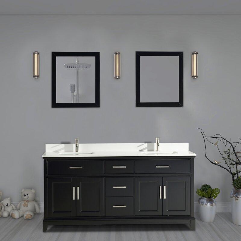 Gracie Oaks Rosemont 72 Double Bathroom Vanity Set With Mirror Reviews Wayfair