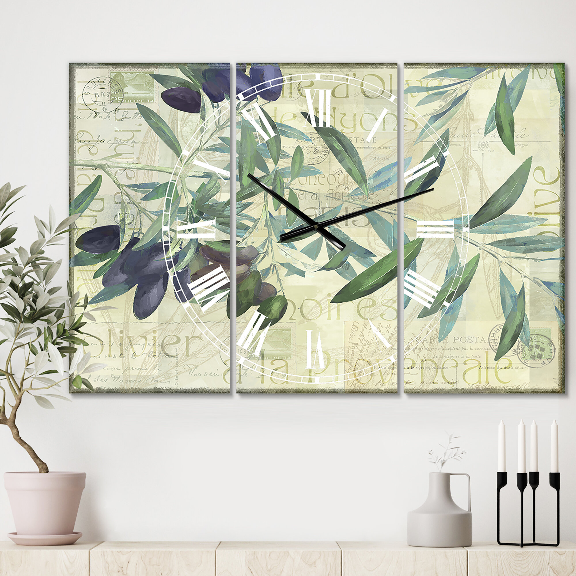 East Urban Home Oversized Olives De Nyons 3 Panels Wall Clock Wayfair