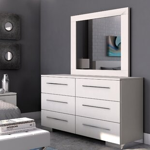 Reviews Brendan 6 Drawer Double Dresser with Mirror by Wade Logan