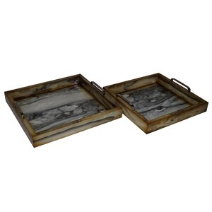 2 Piece Faux Marble Square Tray Set