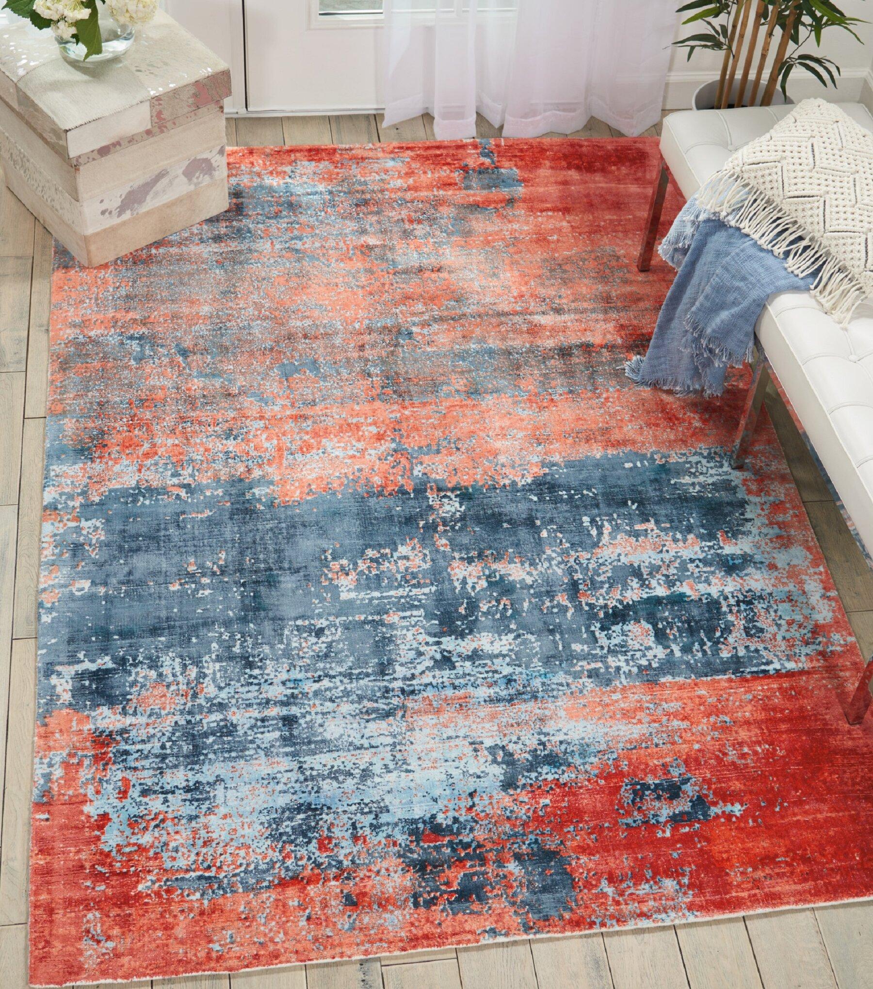 Kathy Ireland Home Safari Dreams Modern Abstract Hand Woven Blue Brick Red Area Rug Wayfair Ca