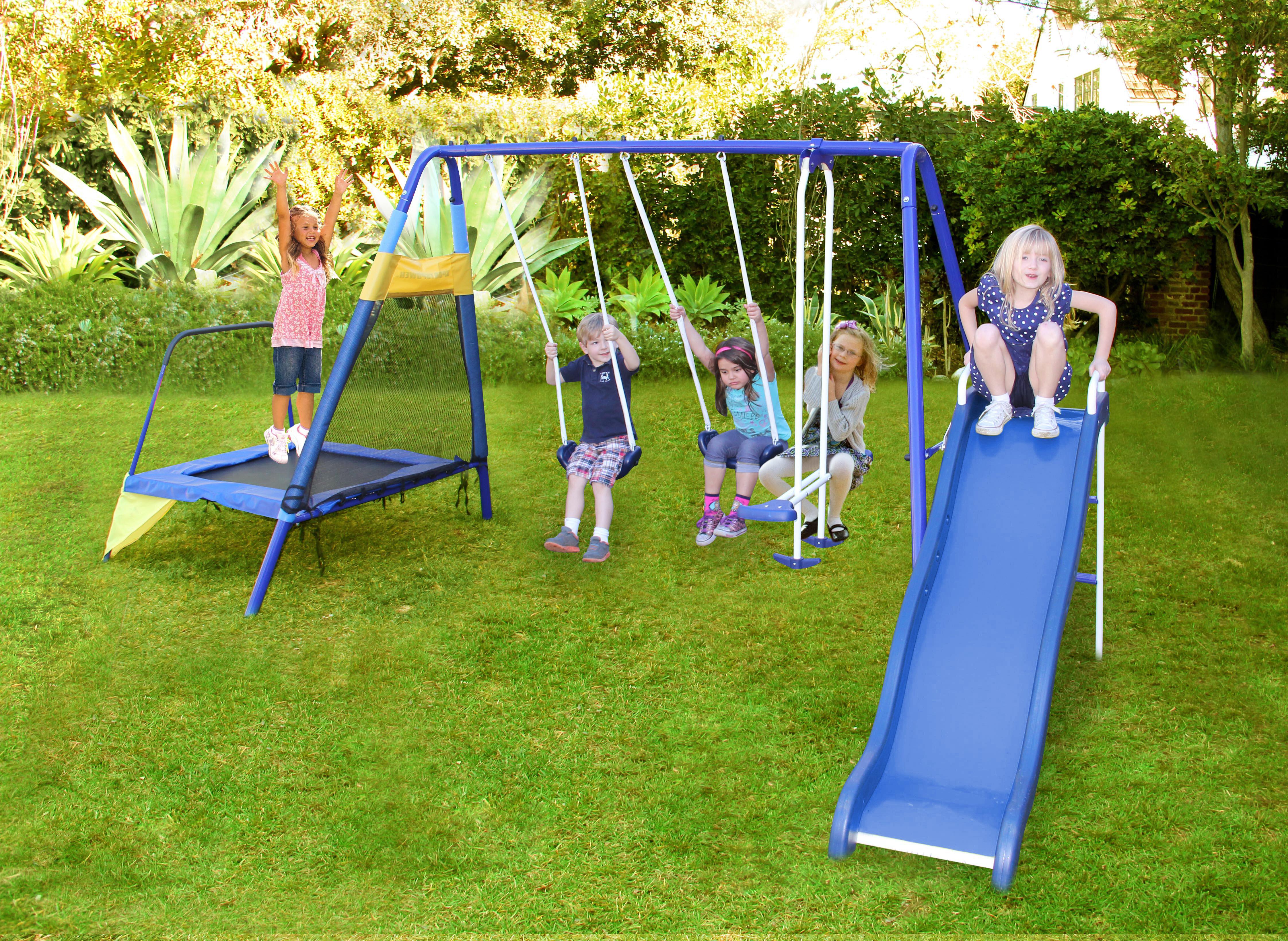 Natus Inc Almansor Trampoline Slide And Swing Set Reviews Wayfair