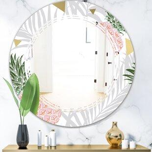 Triple C Pineapple on Tropical Leaves Coastal Frameless Wall Mirror by East Urban Home