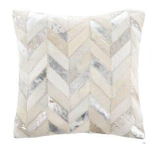 Key Metallic Cowhide Leather Throw Pillow