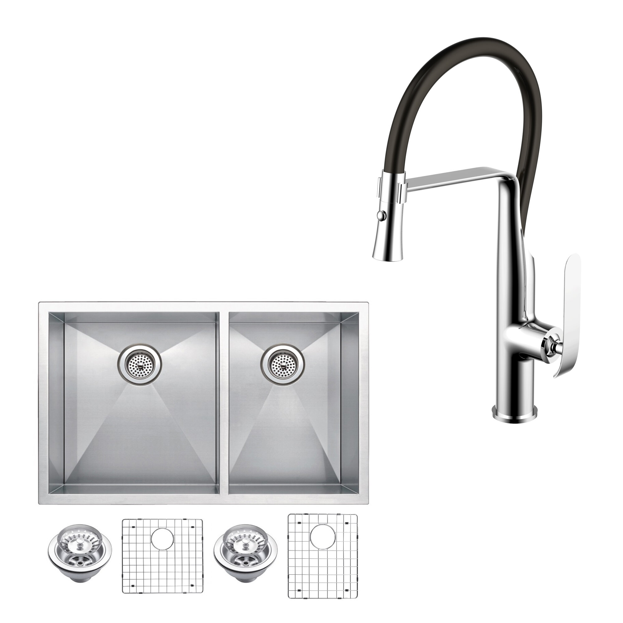 dcor design all in one stainless steel 33   x 20   double basin undermount kitchen sink with faucet  u0026 reviews   wayfair dcor design all in one stainless steel 33   x 20   double basin      rh   wayfair com