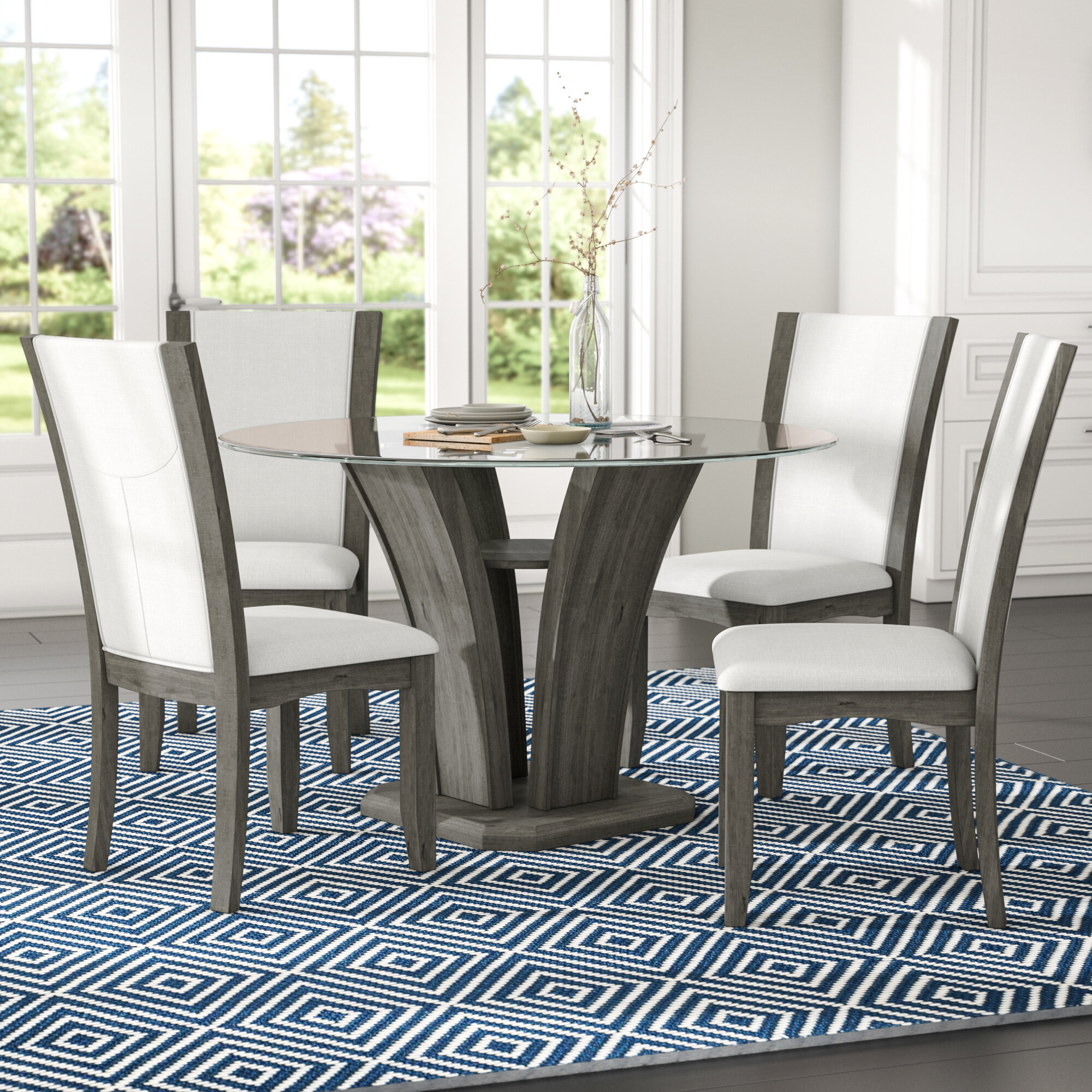 Brayden Studio Kangas 5 Piece Glass Top Dining Set Reviews Wayfair - Glass-topped-dining-room-tables