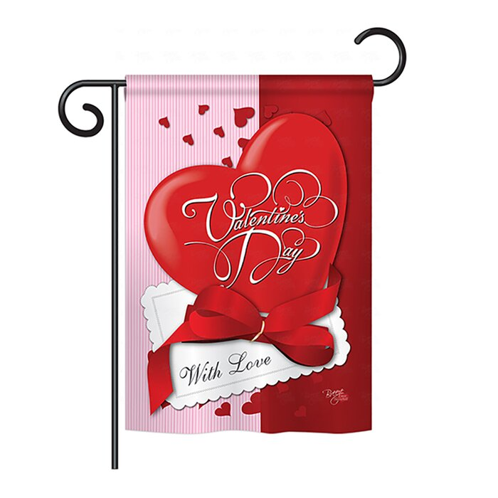 Valentines Polka Dot  Print Monogram House Flag