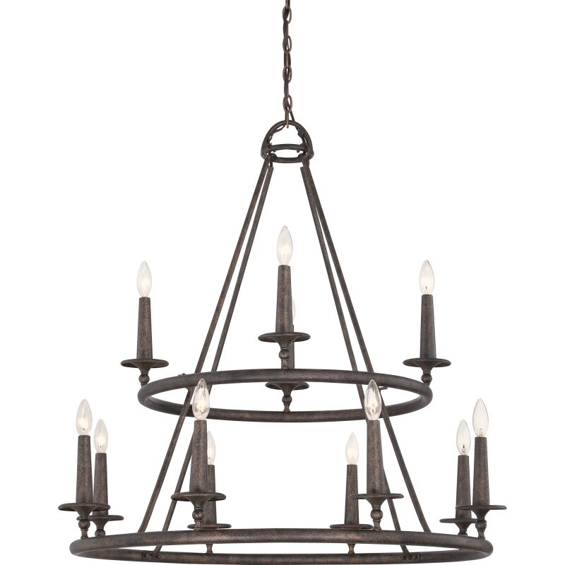 Auxvasse 12-Light LED Wagon Wheel Chandelier