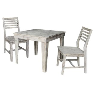 Gallaway Modern Rustic Solid Wood 36 x 36 3 Piece Dining Set with Ladderback Chairs