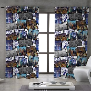Charmant New York Patchwork Grommet Single Curtain Panel