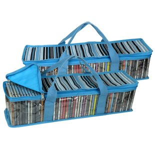 Evelots Cd Dvd Storage Bag 2 In 1 Hold 48 Cds 16 Dvds Total Blue Stripes Set Of