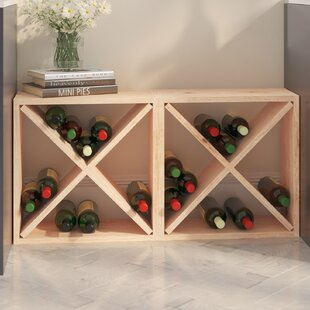 Karnes Pine Rustic Cube 48 Bottle Floor W..