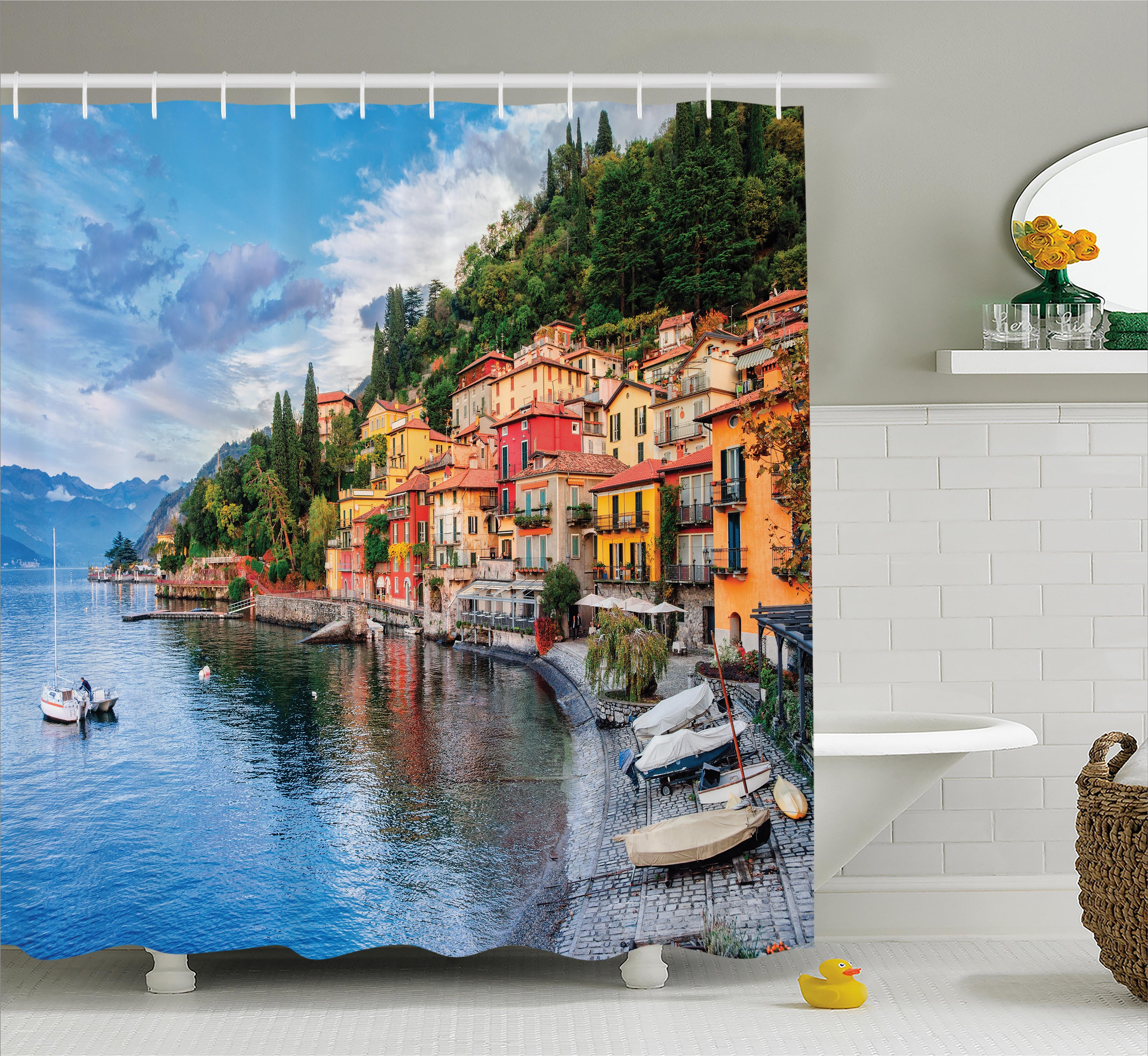 East Urban Home Italian Yacht Boat Idyllic Town Shower Curtain