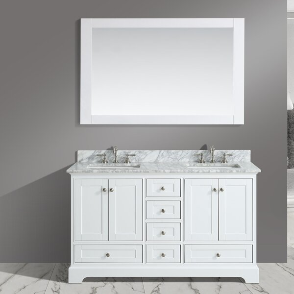 Charlton Home Castellanos 60 Double Bathroom Vanity Set With Mirror Reviews Wayfair