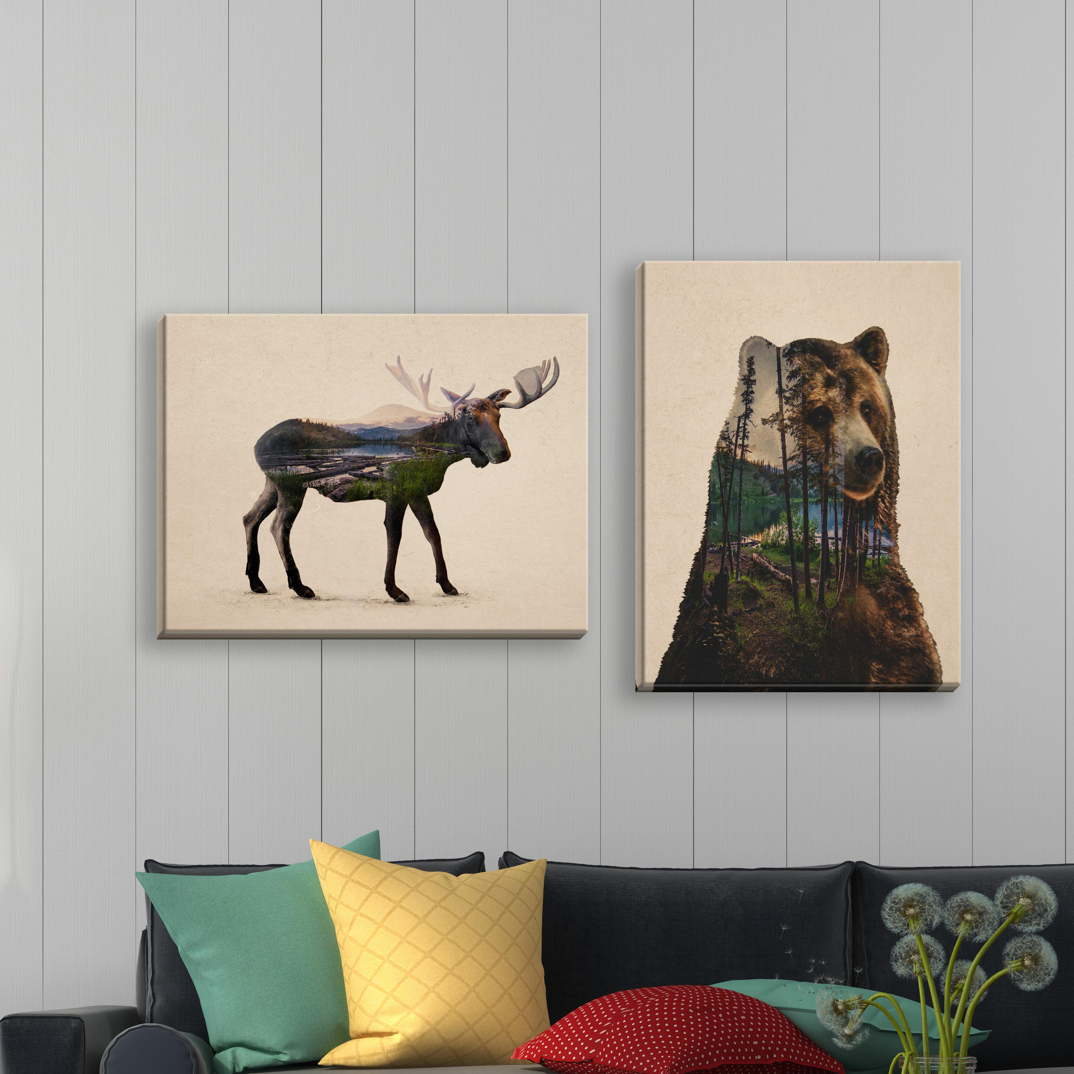 Double Exposure Bull Moose And Bear