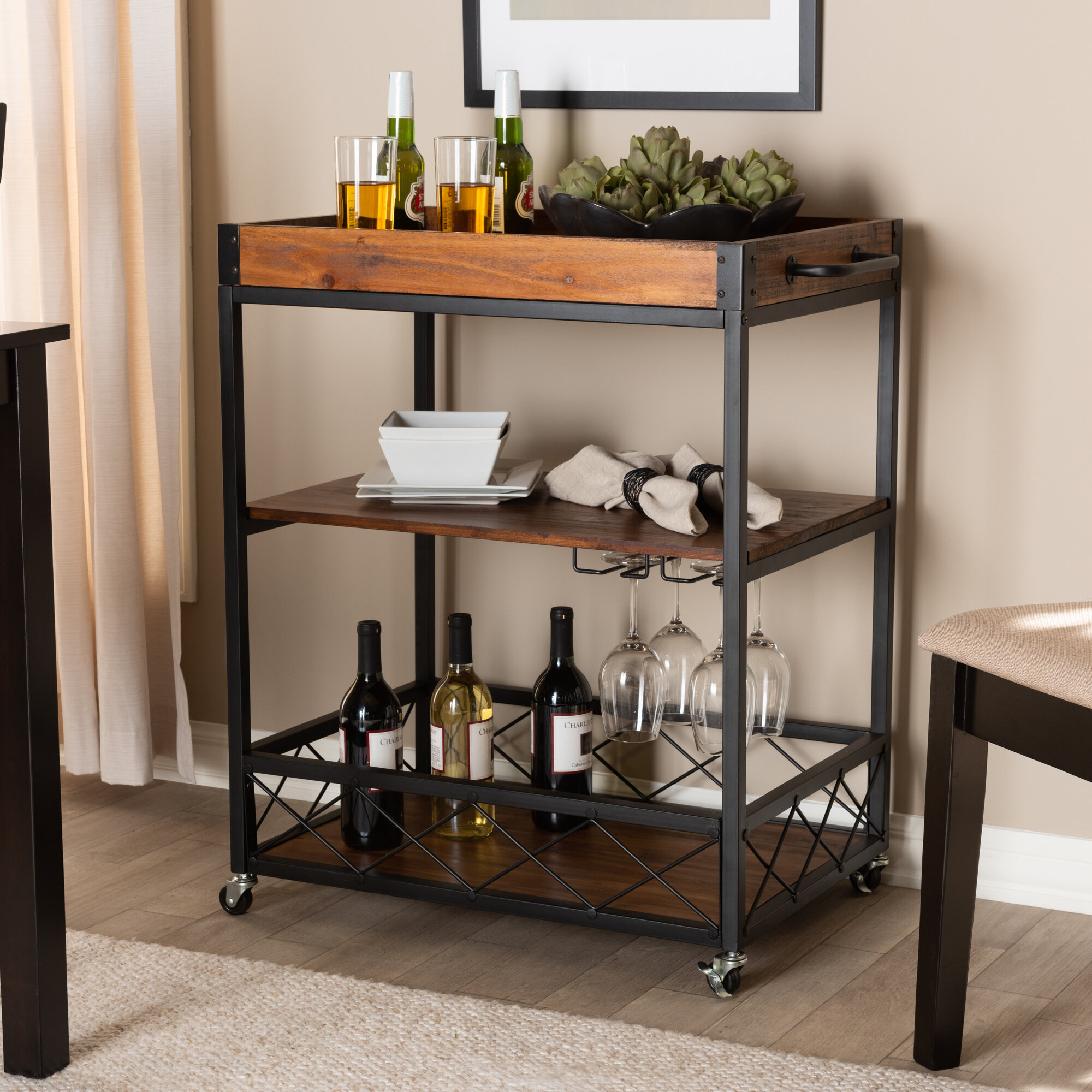 Picture of: Williston Forge Mastropietro Mobile Metal Bar Cart Reviews